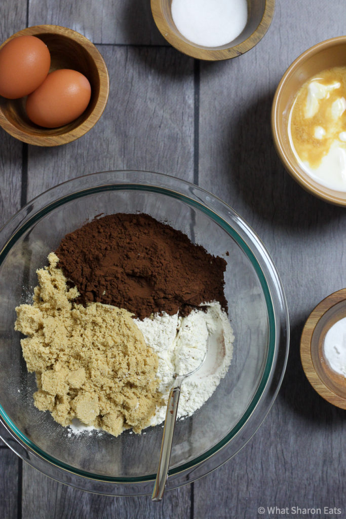 Mixing ingredients for Baked chocolate donuts